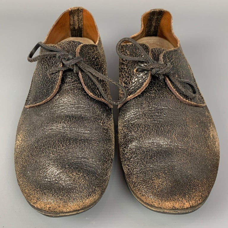 MARSELL Size 7.5 Dark Brown Cracked Leather Flat Laces In Good Condition For Sale In San Francisco, CA