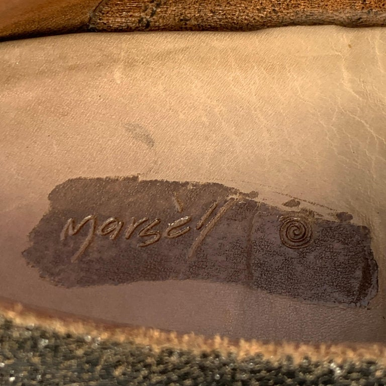 MARSELL Size 7.5 Dark Brown Cracked Leather Flat Laces For Sale 2