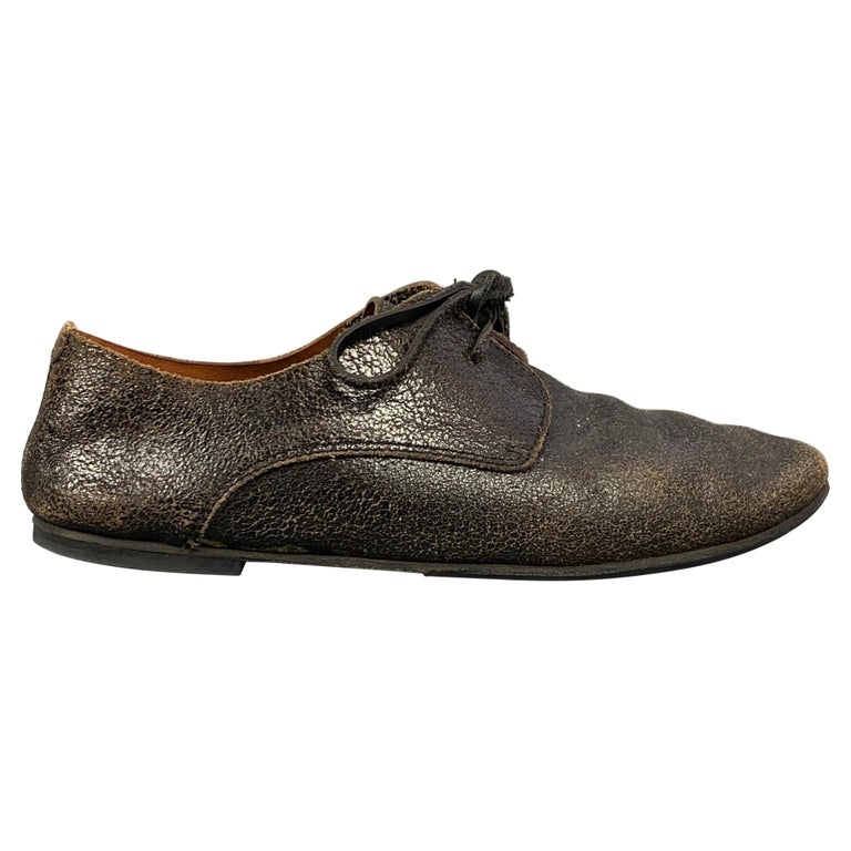 MARSELL Size 7.5 Dark Brown Cracked Leather Flat Laces For Sale