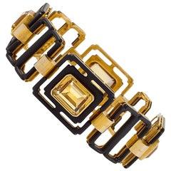Marsh 1950s Citrine Quartz, Gold and Steel Bracelet