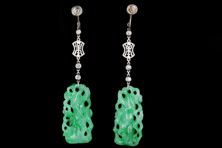 Marsh & Co. Art Deco Platinum Jadeite and Diamond Earrings In Good Condition For Sale In Cape May, NJ