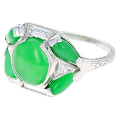 Marsh & Co. Art Deco Platinum Jadeite and Diamond Ring