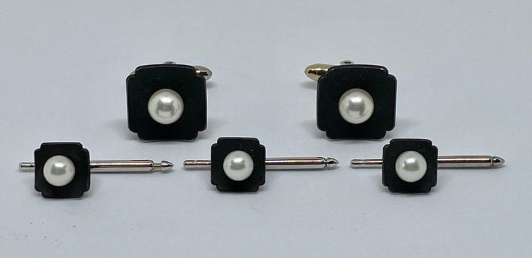 Beautiful, original and highly collectible G.T. Marsh & Company dress set comprised of cufflinks and three matching shirt studs in oxidized steel with round, white cultured pearls and 14K white gold fittings.   In the 19th Century, G.T. Marsh, an