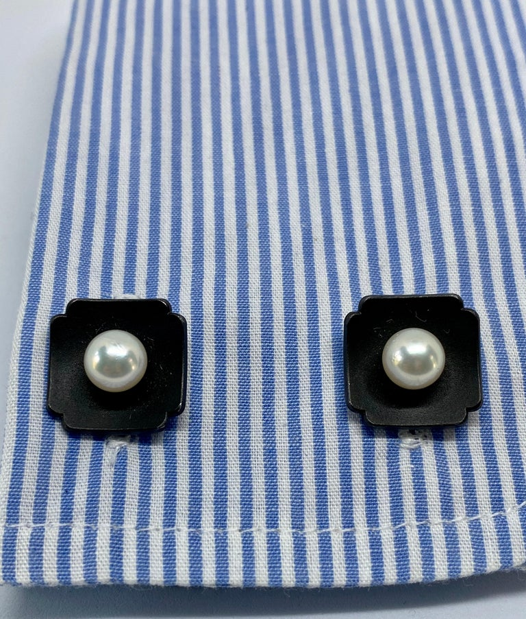 Art Deco Marsh & Company Gold, Oxidized Steel and Cultured Pearl Cufflinks Dress Set For Sale