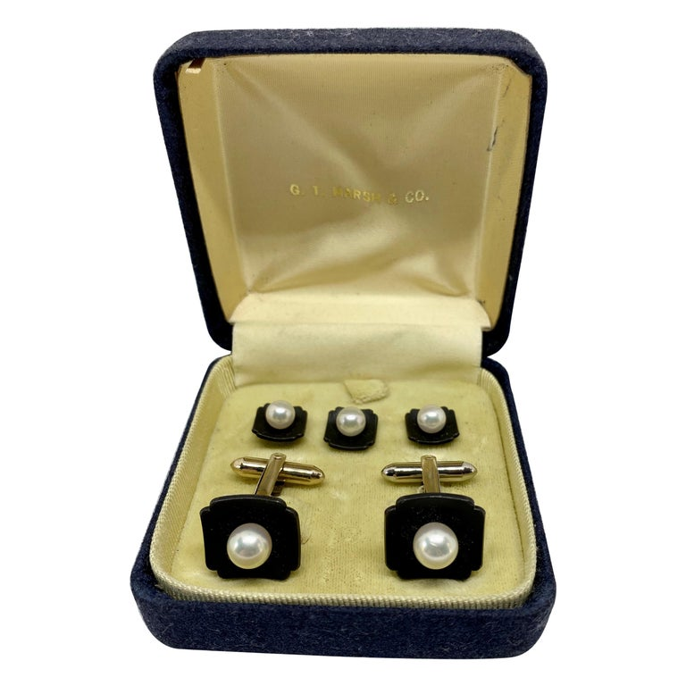 Marsh & Company Gold, Oxidized Steel and Cultured Pearl Cufflinks Dress Set For Sale