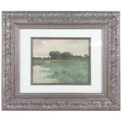 """Marsh Scene"" Watercolor Painting by Charles Warren Eaton, 1883"