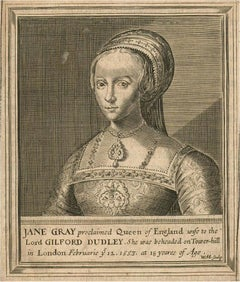 Marshall after M. and W. van de Passe - 17th Century Engraving, Lady Jane Grey