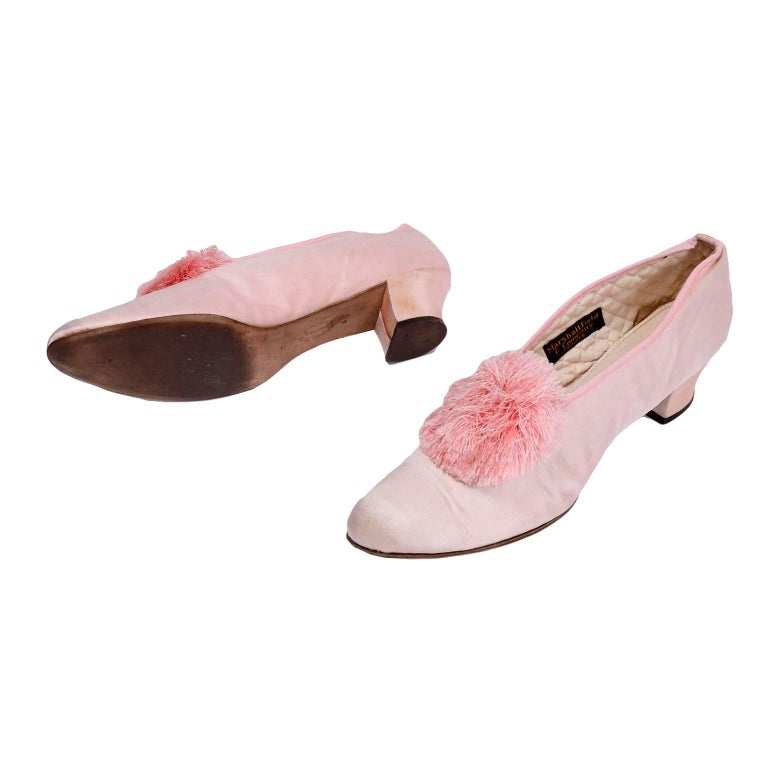 Marshall Field Edwardian Pink Satin Vintage Shoes With Pom Poms 7 For Sale 2