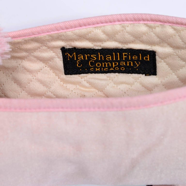 Marshall Field Edwardian Pink Satin Vintage Shoes With Pom Poms 7 For Sale 4