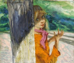 Young Woman By a Tree, Oil Painting by Marshall Goodman
