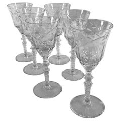 "Set of 6 Late Art Deco Cordial Glasses by Rock Sharp in the ""Marshfield"" Pattern"