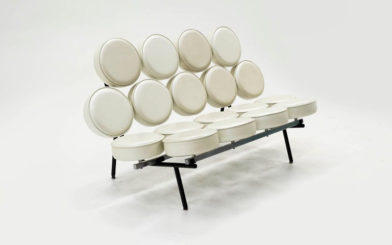 Mid-Century Modern Marshmallow Sofa by Irving Harper / George Nelson White Metallic Edelman Leather