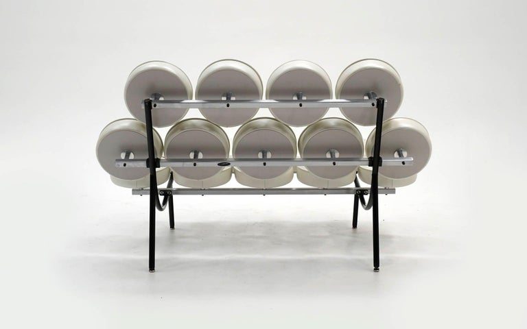 Marshmallow Sofa by Irving Harper / George Nelson White Metallic Edelman Leather 1