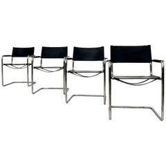 Vier Bauhaus-Esszimmerstühle MG5 von Mart Stam für Matteo Grassi, 1970er Jahre