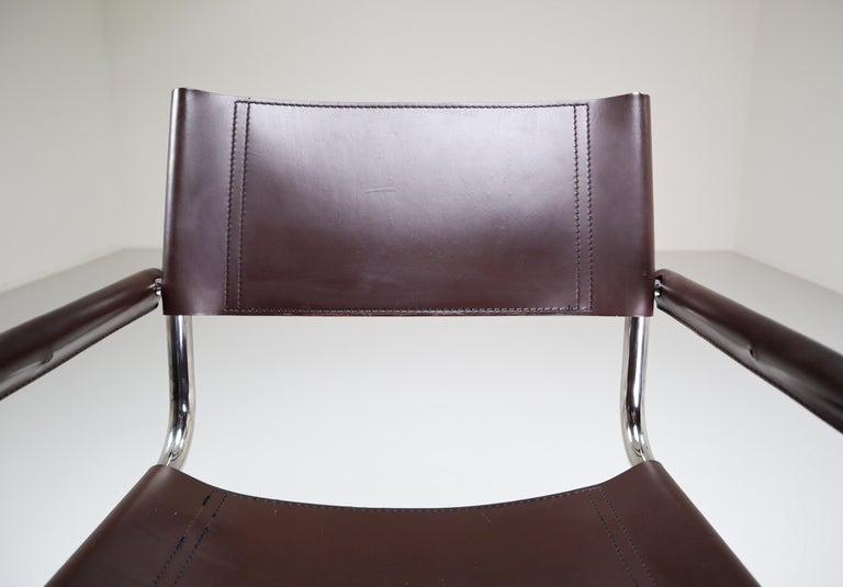 Mart Stam Model S33 Chocolate Brown Leather Cantilever Chairs by Fasem Italy For Sale 5