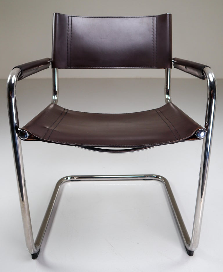 Mart Stam Model S33 Chocolate Brown Leather Cantilever Chairs by Fasem Italy For Sale 6