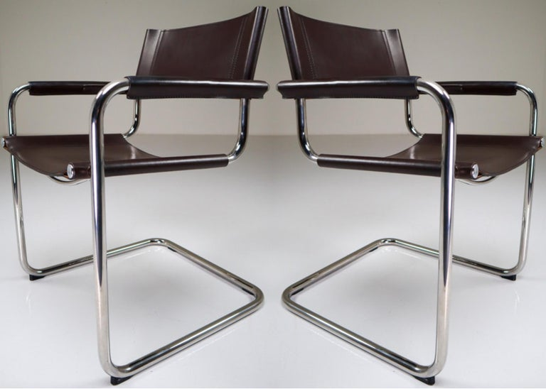 Mart Stam Model S33 leather Cantilever chairs by Fasem Italy   A beautiful large set of 35 Mart Stam Model S33 leather cantilever chairs by Fasem, Italy, 1980s. The chairs with a chocolate brown leather seat, back and arms on a cantilevered chrome