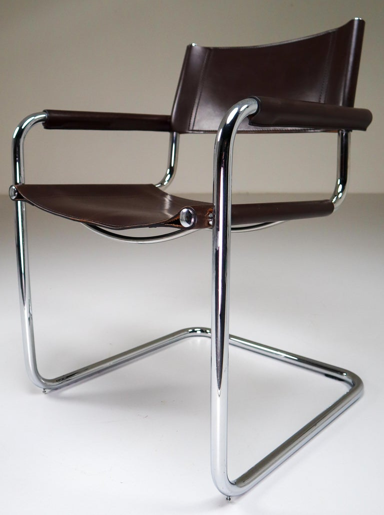 Mid-Century Modern Mart Stam Model S33 Chocolate Brown Leather Cantilever Chairs by Fasem Italy For Sale
