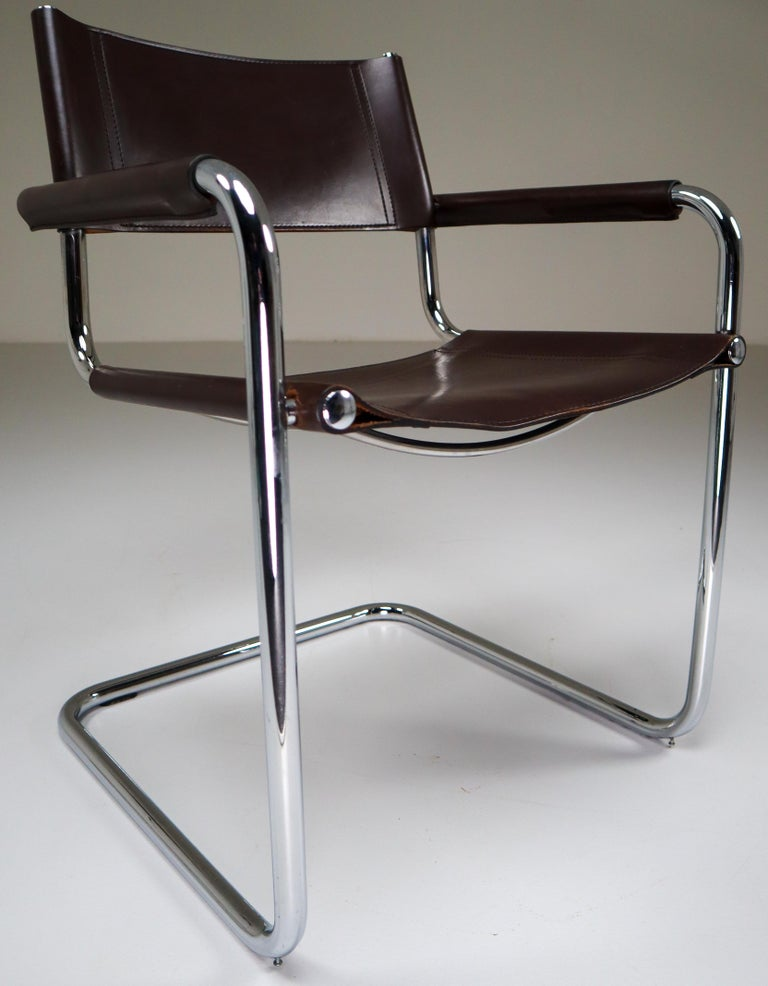 Italian Mart Stam Model S33 Chocolate Brown Leather Cantilever Chairs by Fasem Italy For Sale