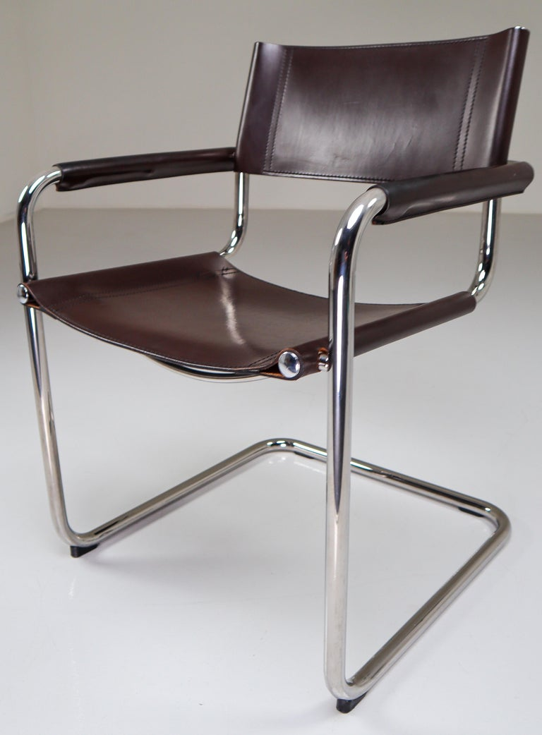 Mart Stam Model S33 Chocolate Brown Leather Cantilever Chairs by Fasem Italy In Good Condition For Sale In Almelo, NL