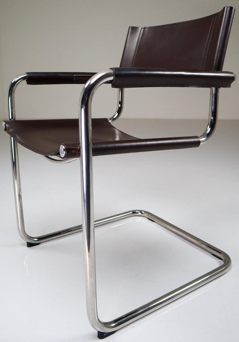 20th Century Mart Stam Model S33 Chocolate Brown Leather Cantilever Chairs by Fasem Italy For Sale