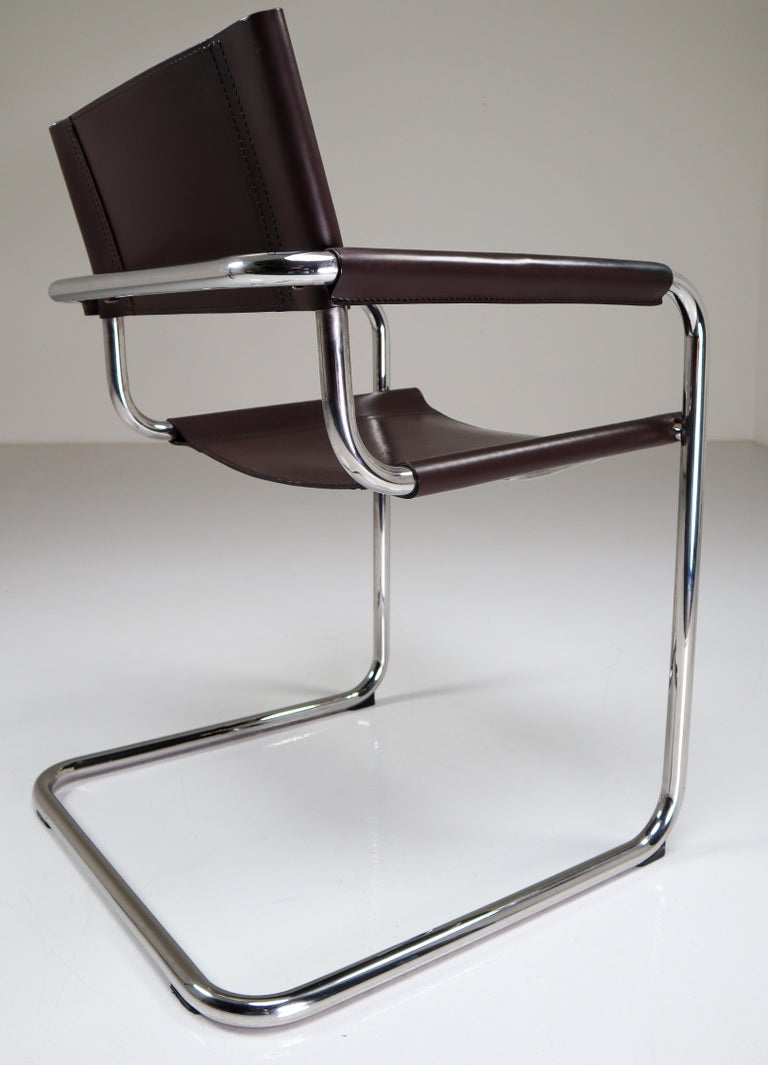 Mart Stam Model S33 Chocolate Brown Leather Cantilever Chairs by Fasem Italy For Sale 1