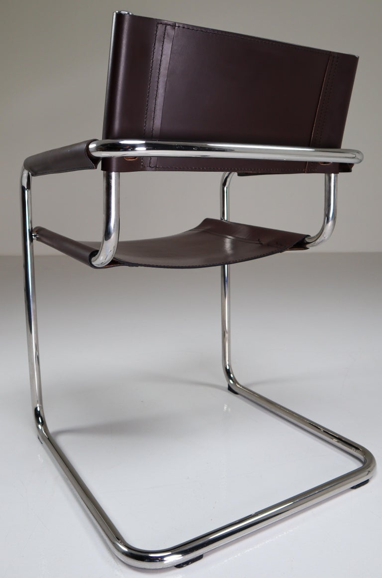 Mart Stam Model S33 Chocolate Brown Leather Cantilever Chairs by Fasem Italy For Sale 2