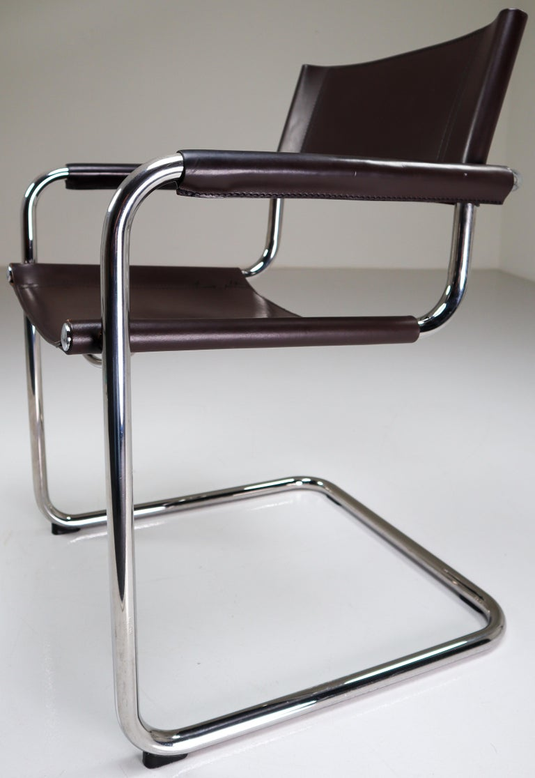 Mart Stam Model S33 Chocolate Brown Leather Cantilever Chairs by Fasem Italy For Sale 3