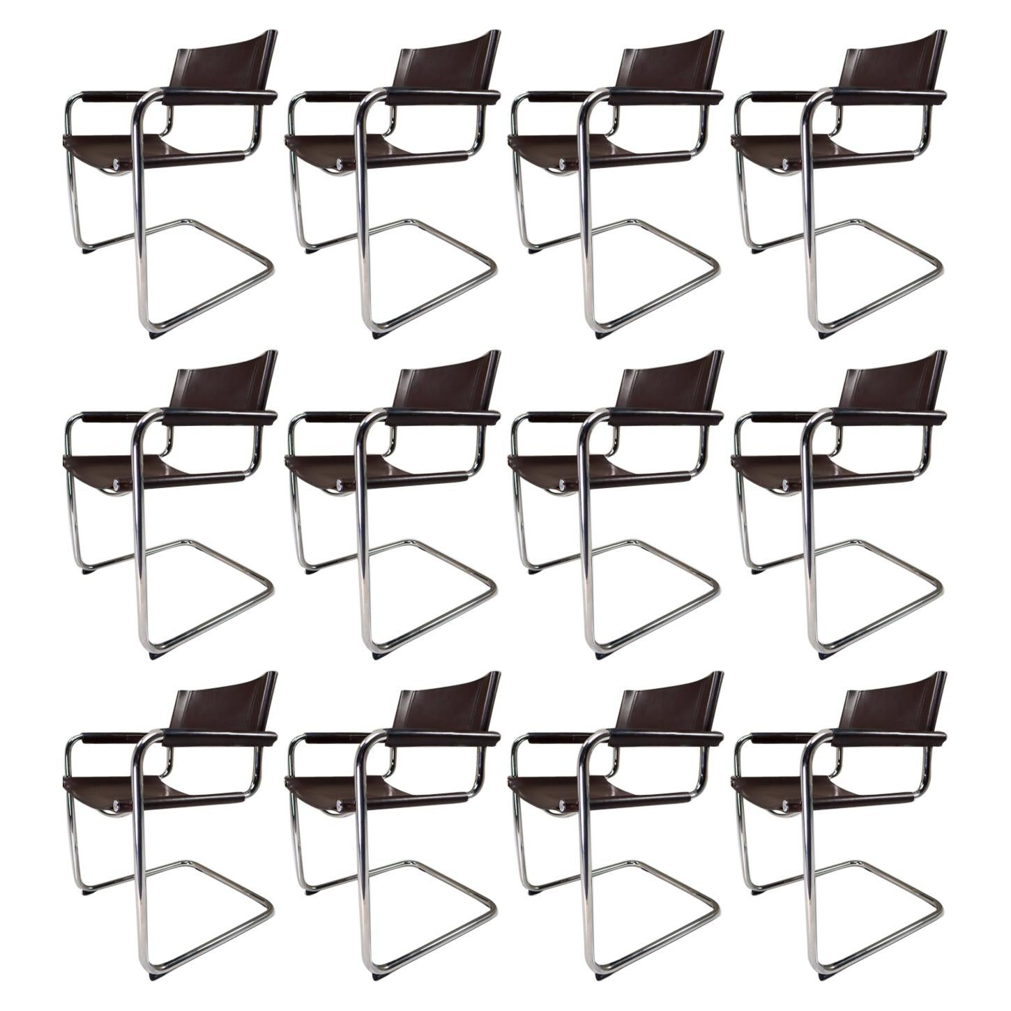 Mart Stam Model S33 Chocolate Brown Leather Cantilever Chairs by Fasem Italy