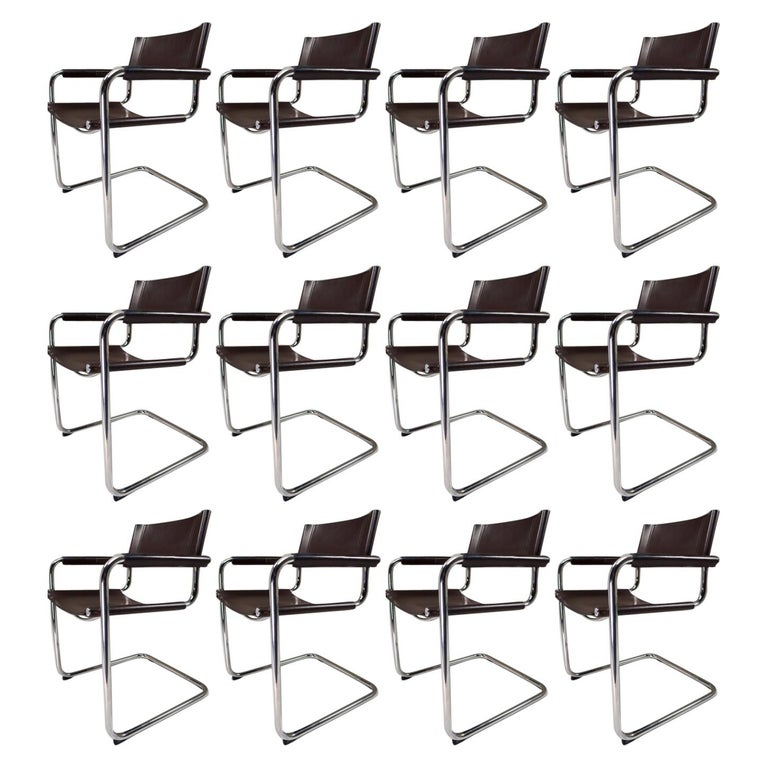 Mart Stam Model S33 Chocolate Brown Leather Cantilever Chairs by Fasem Italy For Sale