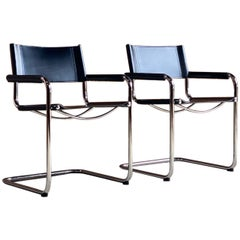 Mart Stam Model S33 Leather Cantilever Chairs By Fasem Italy Circa 1980