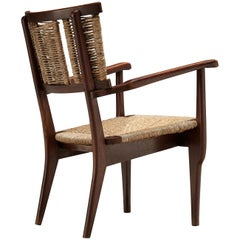 Mart Stam Oak and Wicker Armchair