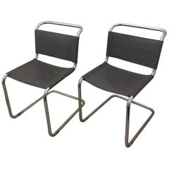 Mart Stam Pair of Tubular Chrome and Grey Leather Chairs