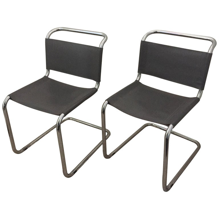 Mart Stam Pair of Tubular Chrome and Grey Leather Chairs For Sale