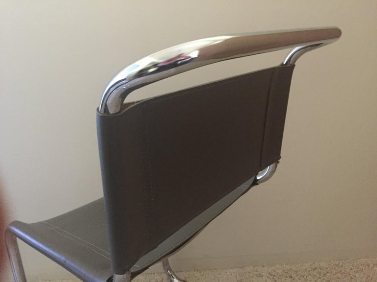 Mart Stam Pair of Tubular Chrome and Grey Leather Chairs For Sale 3