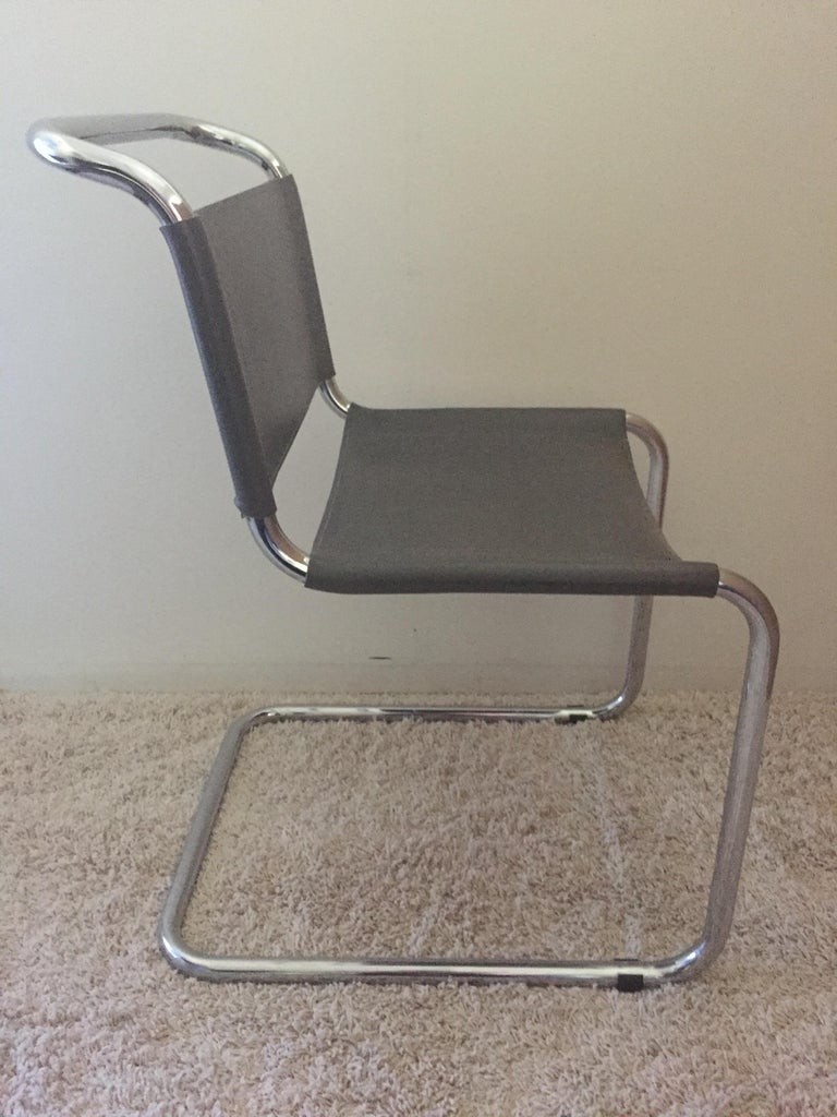 Italian Mart Stam Pair of Tubular Chrome and Grey Leather Chairs For Sale