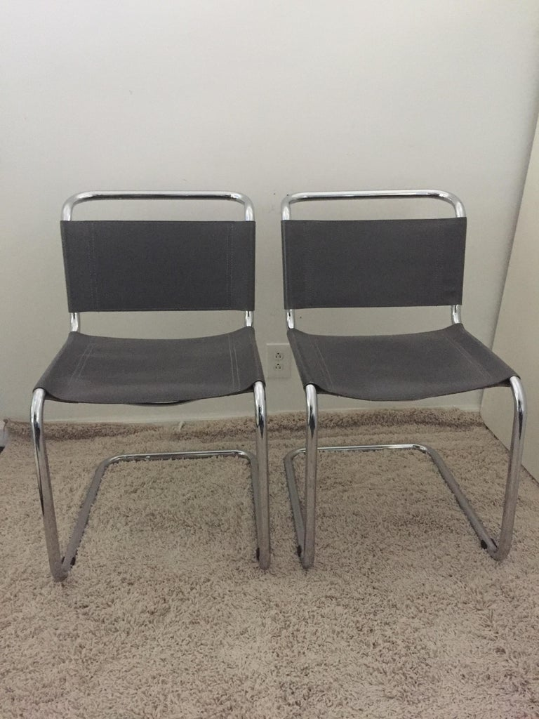 Mid-Century Modern Mart Stam Pair of Tubular Chrome and Grey Leather Chairs For Sale