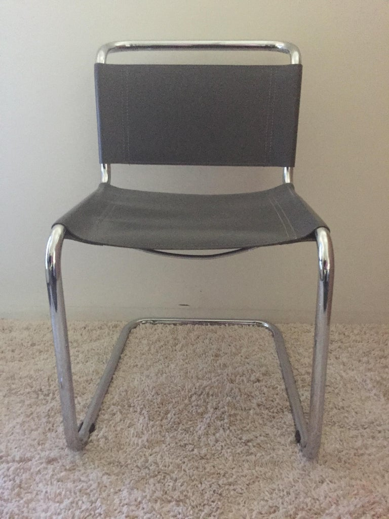 Glazed Mart Stam Pair of Tubular Chrome and Grey Leather Chairs For Sale