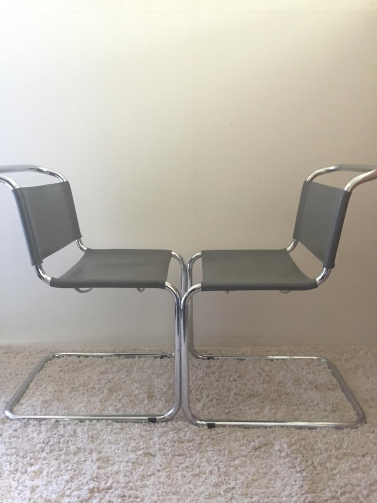Mart Stam Pair of Tubular Chrome and Grey Leather Chairs In Excellent Condition For Sale In Westport, CT