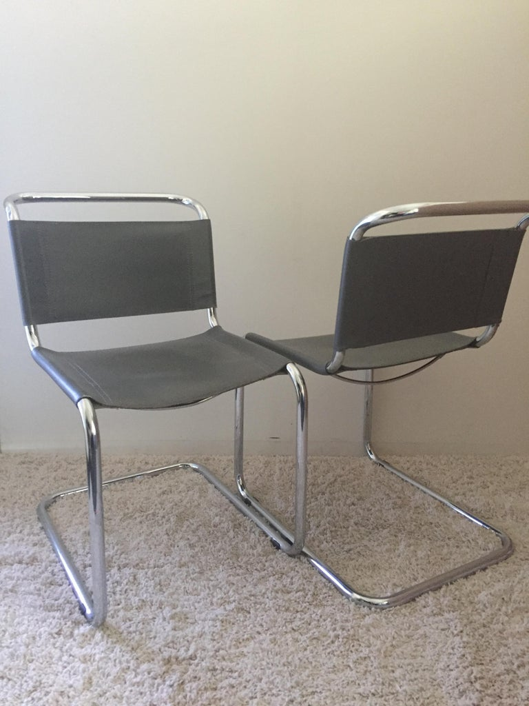 20th Century Mart Stam Pair of Tubular Chrome and Grey Leather Chairs For Sale