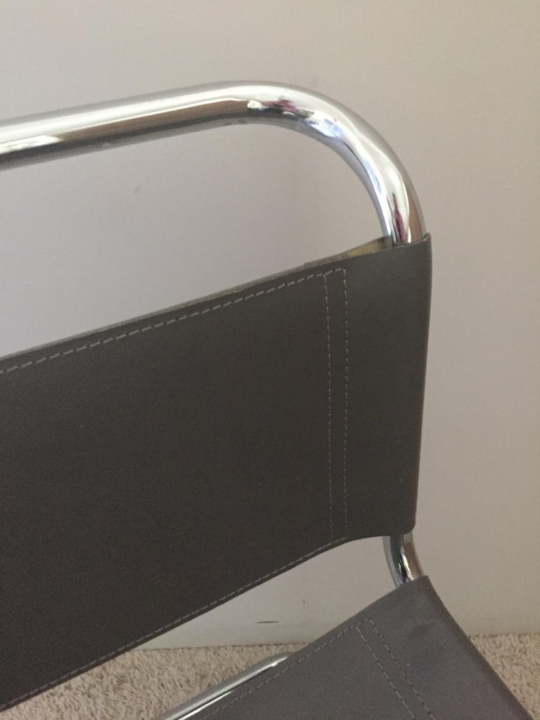 Mart Stam Pair of Tubular Chrome and Grey Leather Chairs For Sale 1
