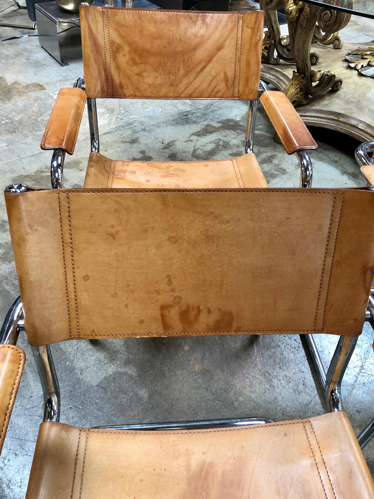 Mart Stam Six Italian Leather Armchairs, 1950s For Sale 4