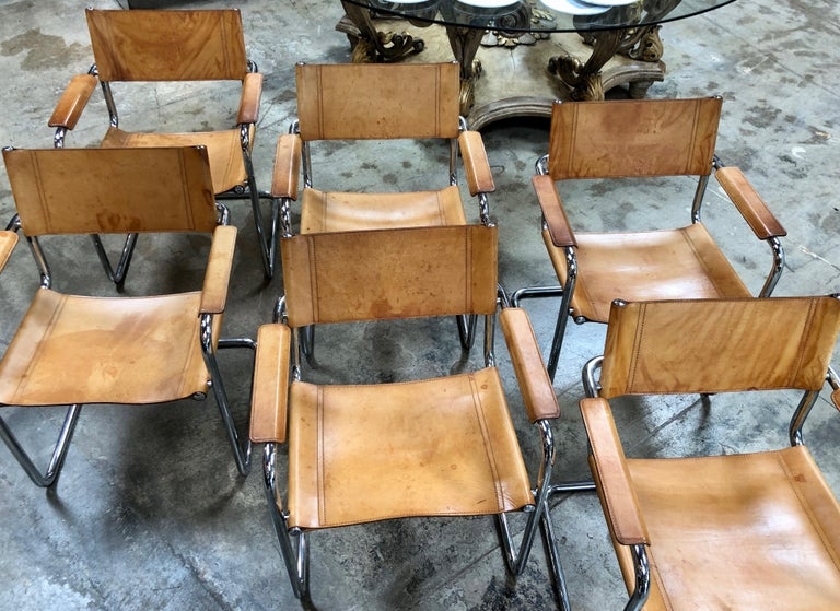 Mart Stam Six Italian Leather Armchairs, 1950s For Sale 5