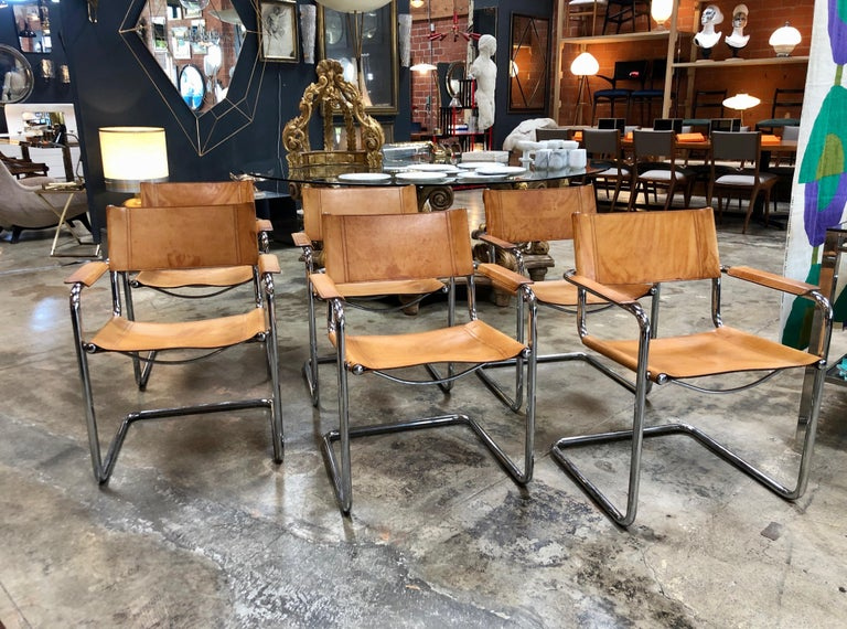 Six Italian in original leather armchairs by Mart Stam 1950s for Fasem International with the structure in chromed steel. In the 1920s Dutch architect Mart Stam revolutionized modern design by using tubular metal.