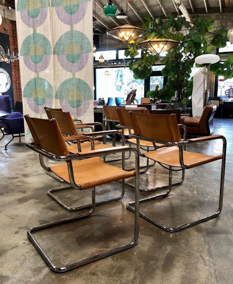 Modern Mart Stam Six Italian Leather Armchairs, 1950s For Sale