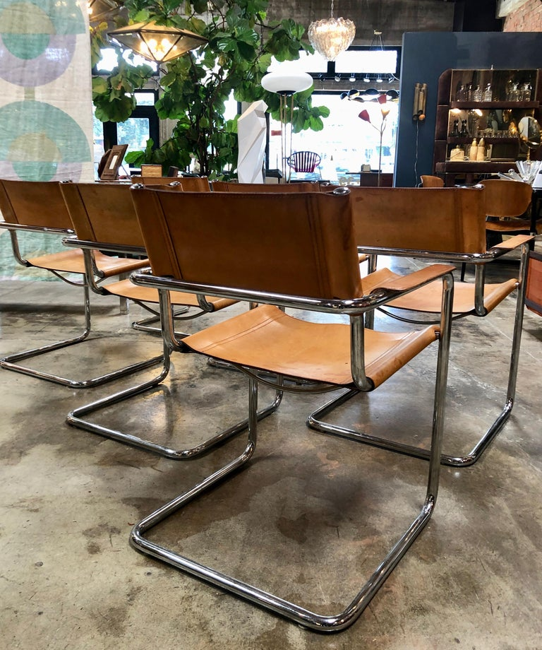 Mart Stam Six Italian Leather Armchairs, 1950s In Good Condition For Sale In Los Angeles, CA