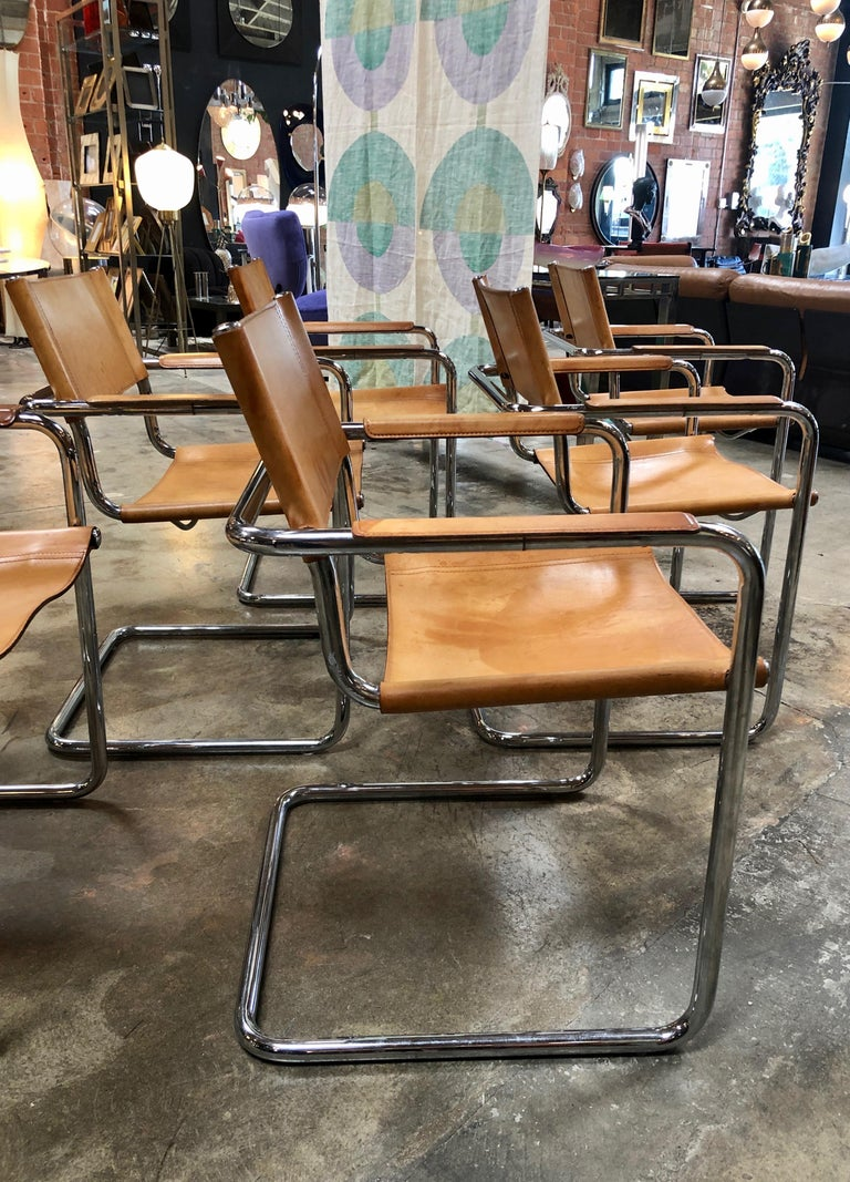 Mid-20th Century Mart Stam Six Italian Leather Armchairs, 1950s For Sale