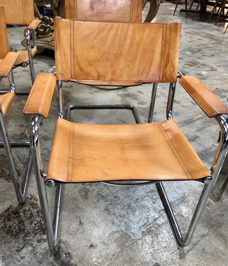 Steel Mart Stam Six Italian Leather Armchairs, 1950s For Sale