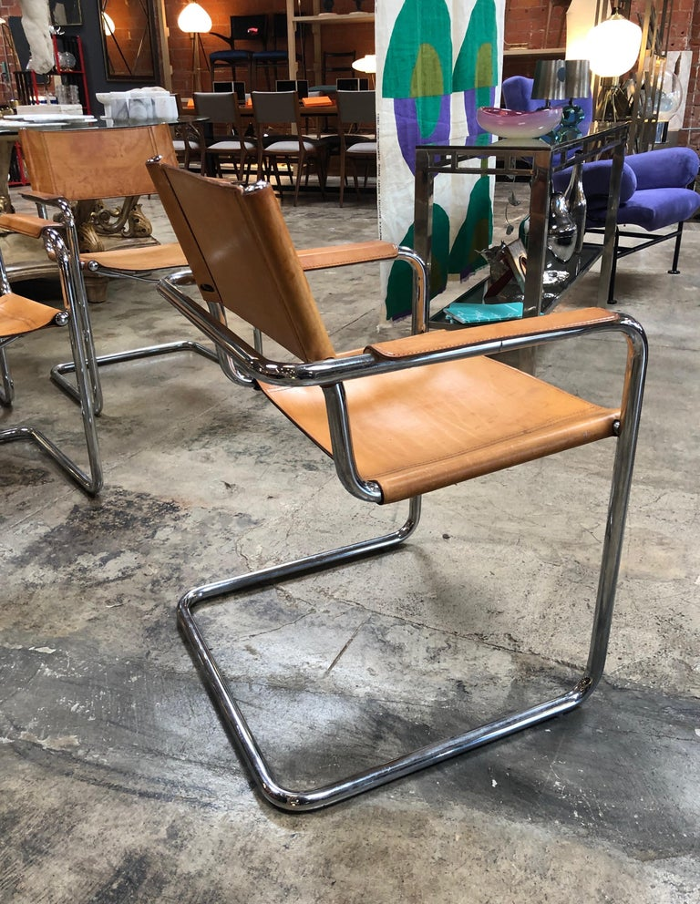 Mart Stam Six Italian Leather Armchairs, 1950s For Sale 2