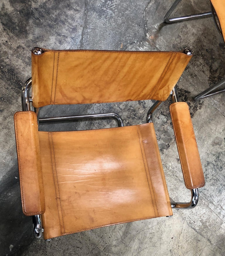 Mart Stam Six Italian Leather Armchairs, 1950s For Sale 3